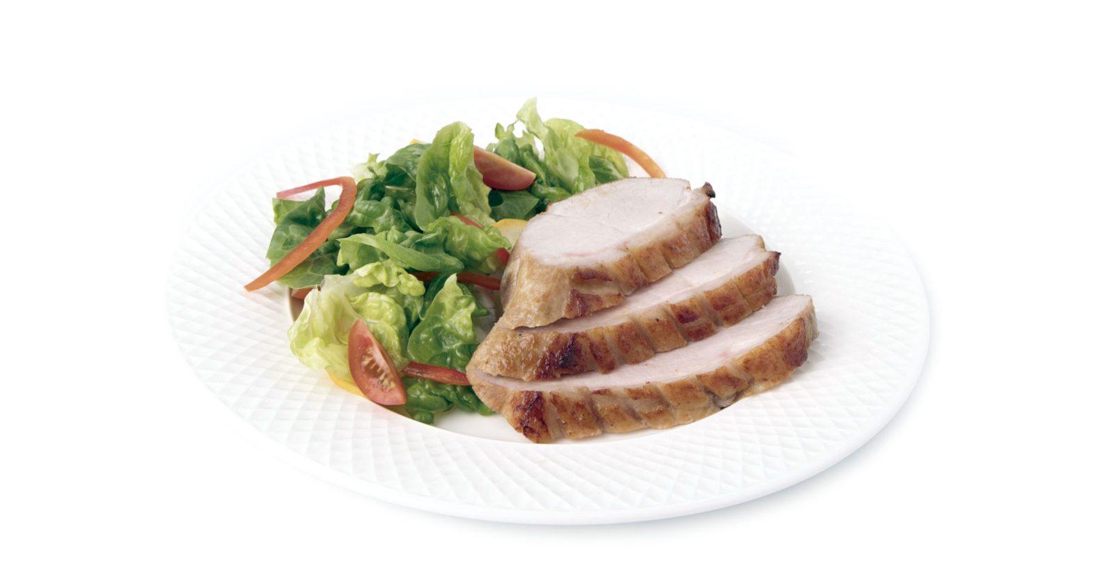 Cubitos de Bola de Pierna de Cerdo teriyaky con vegetales salteados